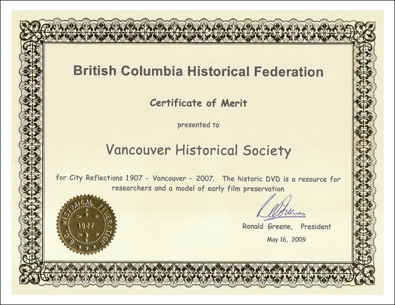 British Columbia Historical Federation's Award of Merit