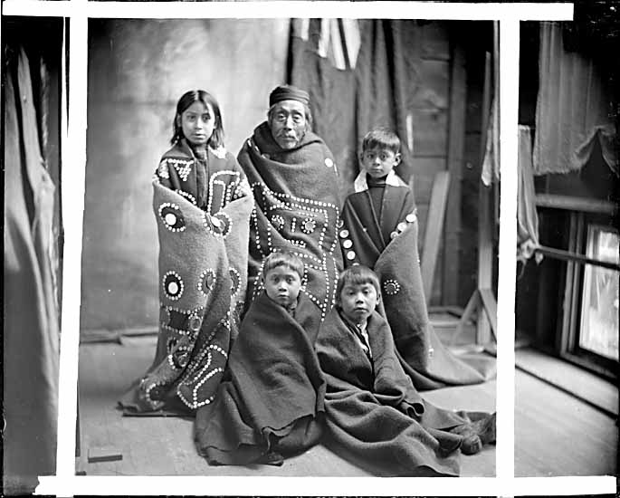 VPL #14079, Ben W. Leeson, 19--, First Nations people in button blankets at Quatsino Sound