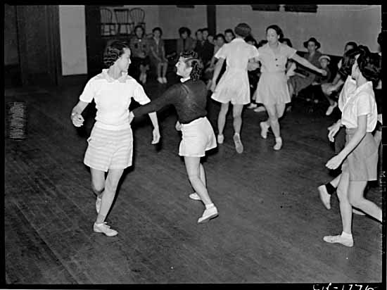 VPL #1776, Province Newspaper, 1942, Japanese evacuation - young women square dancing