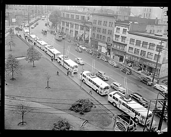 VPL #80633, Tom Christopherson, 1948, Inauguration of the new B. C. Electric trolley buses